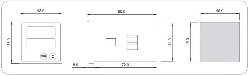 型号为BRN-E211-AU的单相数字电压表主要用于测量电力线路中的电压,采用两行LED显示,可代替传统式指针电流电压表。 主要特点  电气参数测量 :单相电压  高亮度两行LED显示  简易双键查询及设定参数  辅助工作电源任意选择交流或直流  尺寸较小 便于安装  适应于高温和强电磁干扰等恶劣环境 主要用途  取代常规指针式仪表 原理接线图:  尺寸图: